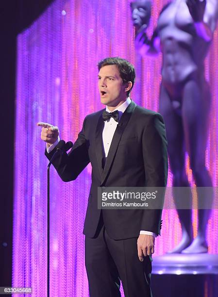 Host Ashton Kutcher speaks onstage during The 23rd Annual Screen Actors Guild Awards at The Shrine Auditorium on January 29 2017 in Los Angeles...