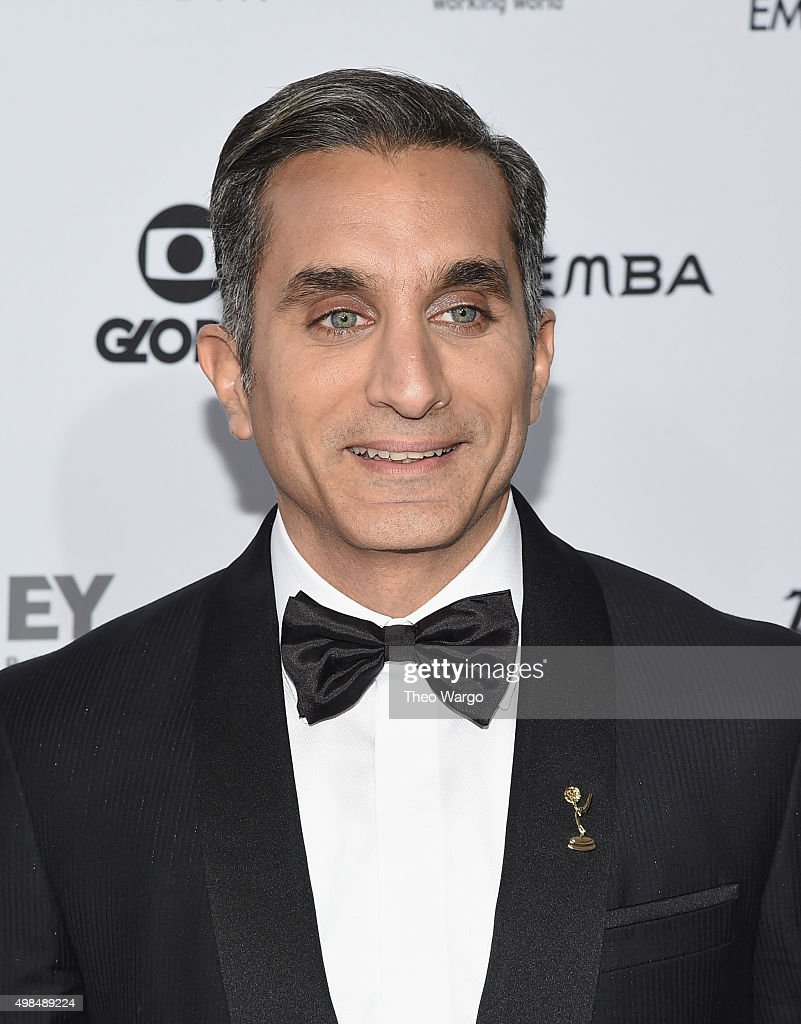Host <a gi-track='captionPersonalityLinkClicked' href=/galleries/search?phrase=Bassem+Youssef&family=editorial&specificpeople=9660617 ng-click='$event.stopPropagation()'>Bassem Youssef</a> attends 43rd International Emmy Awards at New York Hilton on November 23, 2015 in New York City.