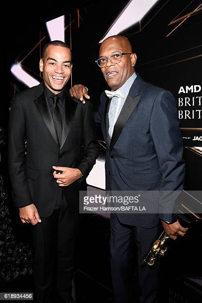 Host Ben 'Doc Brown' Smith and Samuel L Jackson recipient of the Albert R Broccoli Britannia Award for Worldwide Contribution to Entertainment attend...