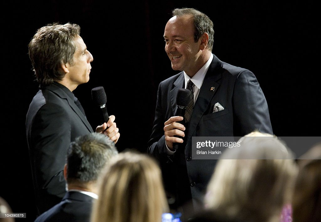 Host Ben Stiller (L) runs through a skit with actor <a gi-track='captionPersonalityLinkClicked' href=/galleries/search?phrase=Kevin+Spacey&family=editorial&specificpeople=202091 ng-click='$event.stopPropagation()'>Kevin Spacey</a> (R) during the Clinton Global Citizens Awards at the conclusion to the annual Clinton Global Initiative (CGI) on September 23, 2010 in New York City. The sixth annual meeting of the CGI gathers prominent individuals in politics, business, science, academics, religion and entertainment to discuss global issues such as climate change and the reconstruction of Haiti. The event, founded by Clinton after he left office, is held the same week as the General Assembly at the United Nations, when most world leaders are in New York City.