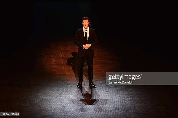 Host Benedict Cumberbatch speaks during the 2015 Laureus World Sports Awards show at the Shanghai Grand Theatre on April 15 2015 in Shanghai China