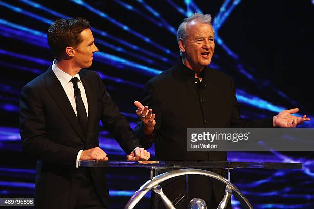 Host Benedict Cumberbatch with actor Bill Murray during the 2015 Laureus World Sports Awards show at the Shanghai Grand Theatre on April 15 2015 in...
