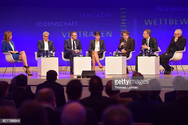 Host Bettina Cramer Joerg Quoos Tanit Koch Christian Krug Giovanni di Lorenzo Robert Schneider and Uwe Vorkoetter speak during Day 2 of the VDZ...