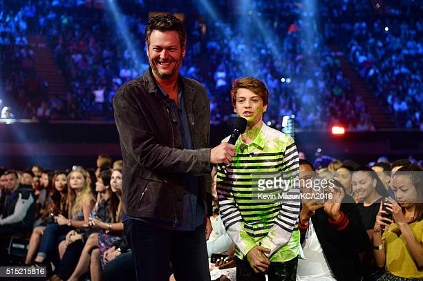 Host Blake Shelton and actor Jace Norman speak during Nickelodeon's 2016 Kids' Choice Awards at The Forum on March 12 2016 in Inglewood California
