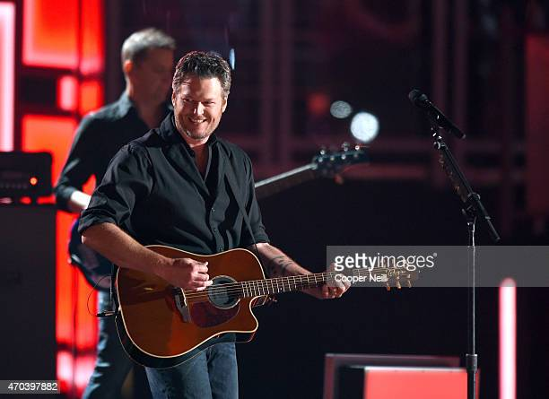 Host Blake Shelton performs onstage during the 50th Academy Of Country Music Awards at ATT Stadium on April 19 2015 in Arlington Texas