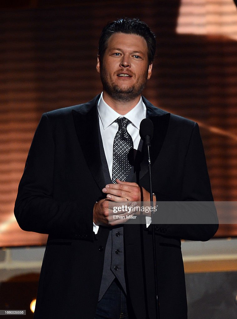 Host <a gi-track='captionPersonalityLinkClicked' href=/galleries/search?phrase=Blake+Shelton&family=editorial&specificpeople=2352026 ng-click='$event.stopPropagation()'>Blake Shelton</a> speaks onstage during the 48th Annual Academy of Country Music Awards at the MGM Grand Garden Arena on April 7, 2013 in Las Vegas, Nevada.