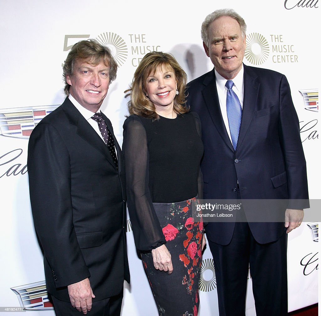 Host/ Board member <a gi-track='captionPersonalityLinkClicked' href=/galleries/search?phrase=Nigel+Lythgoe&family=editorial&specificpeople=736462 ng-click='$event.stopPropagation()'>Nigel Lythgoe</a>, Chairman of the Board Lisa Specht and President and CEO of The Music Center Stephen Rountree arrive at The Music Center's 50th Anniversary Launch Party held at The Dorothy Chandler Pavilion on April 1, 2014 in Los Angeles, California.