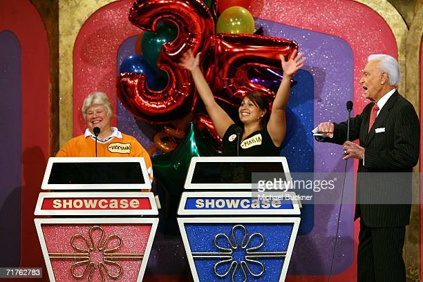 Host Bob Barker announces the showcase showdown at the taping of the 35th Season premiere of 'The Price Is Right' at CBS Television studios August 31...