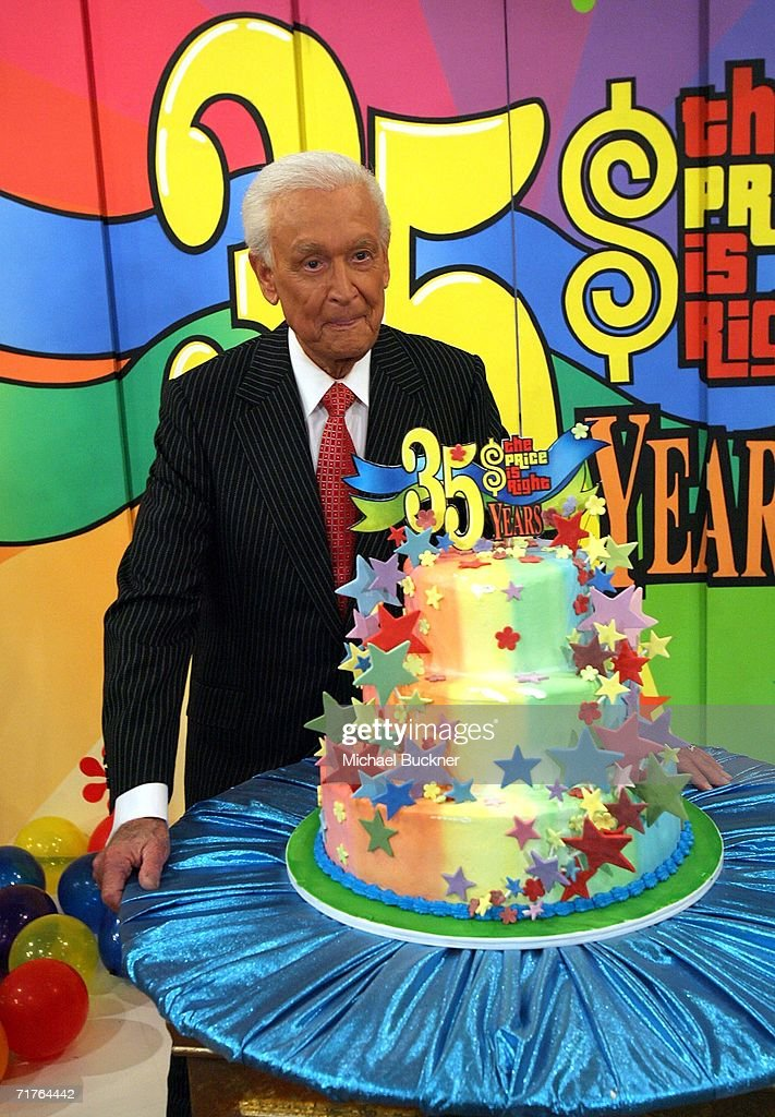 Host Bob Barker poses with a cake at the taping of the 35th Season premiere of 'The Price Is Right' at CBS Television studios August 31 2006 in Los...
