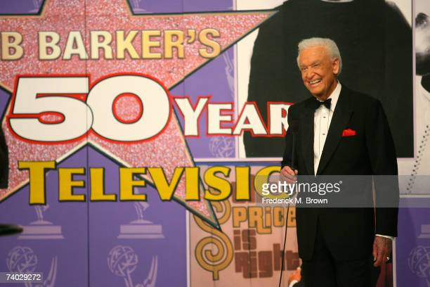 Host Bob Barker speaks during the tapeing of a final primetime special of 'The Price Is Right' at CBS Television City on April 17 2007 in Los Angeles...
