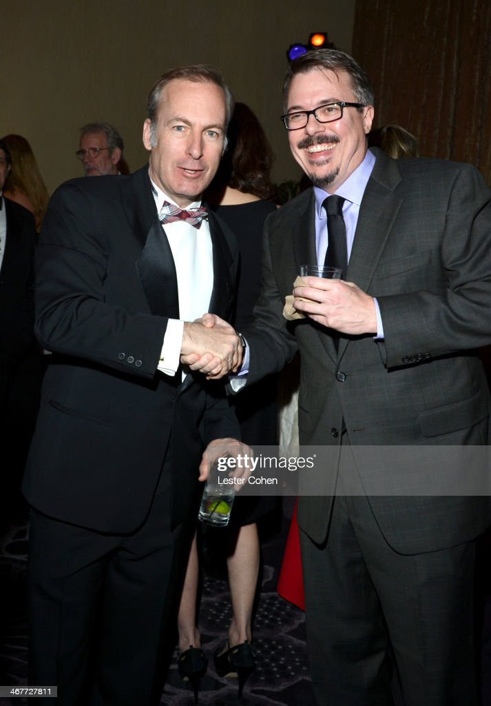 Host Bob Odenkirk and writer/director Vince Gilligan attend the 64th Annual ACE Eddie Awards at Paramount Studios on February 7 2014 in Hollywood...