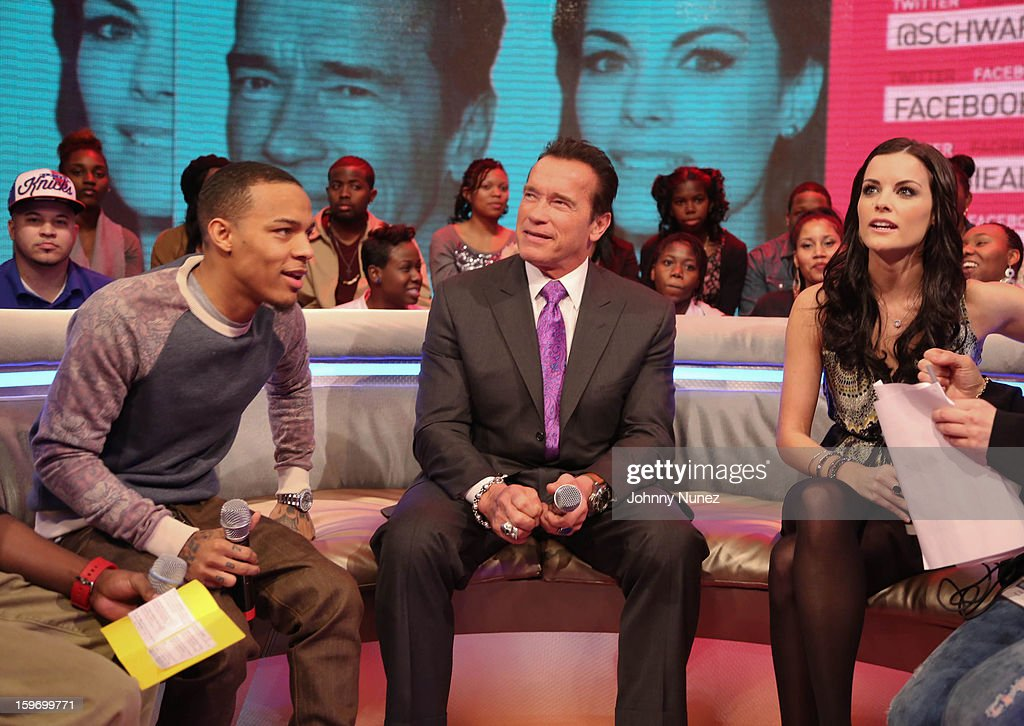 Host Bow Wow, actor Arnold Schwarzenegger and actress Jaimie Alexander visit BET's '106 & Park' at BET Studios on January 17, 2013 in New York City.
