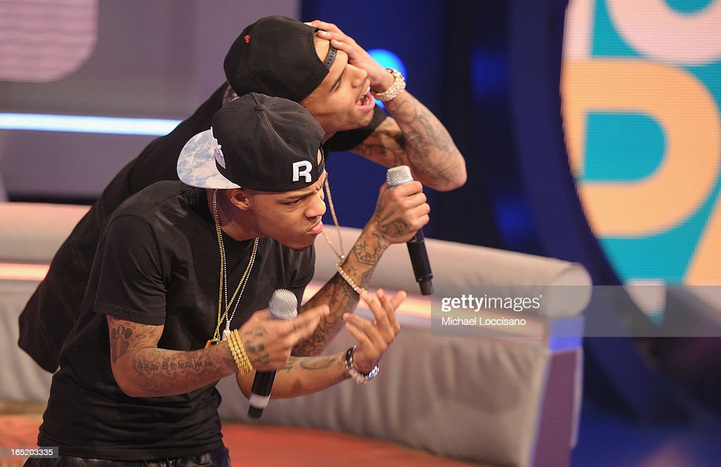 BET host Bow Wow (L) and singer Chris Brown appear on BET's '106 & Park' at BET Studios on April 1, 2013 in New York City.