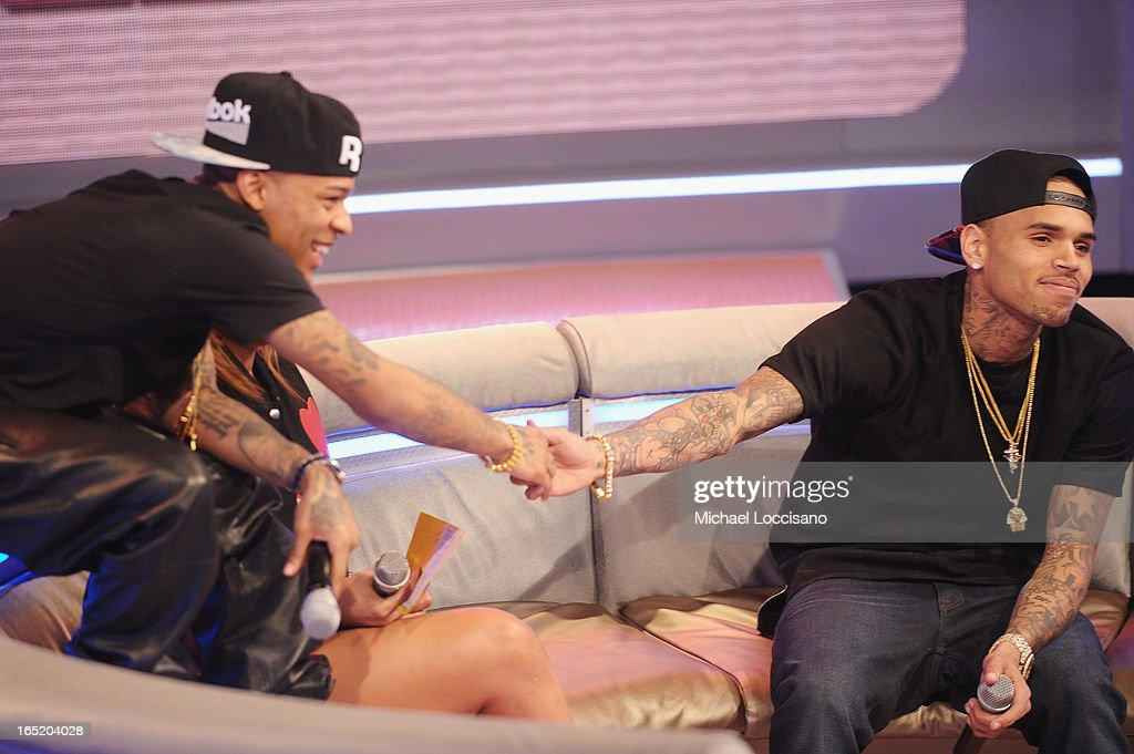 BET host Bow Wow and singer Chris Brown appear on BET's '106 & Park' at BET Studios on April 1, 2013 in New York City.