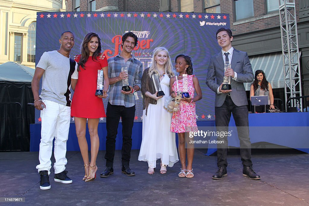 Host Brandon T. Jackson and honorees <a gi-track='captionPersonalityLinkClicked' href=/galleries/search?phrase=Nina+Dobrev&family=editorial&specificpeople=4397485 ng-click='$event.stopPropagation()'>Nina Dobrev</a>, <a gi-track='captionPersonalityLinkClicked' href=/galleries/search?phrase=Tyler+Posey&family=editorial&specificpeople=3201481 ng-click='$event.stopPropagation()'>Tyler Posey</a>, <a gi-track='captionPersonalityLinkClicked' href=/galleries/search?phrase=Abigail+Breslin&family=editorial&specificpeople=226628 ng-click='$event.stopPropagation()'>Abigail Breslin</a>, Quvenzhane Wallis, and <a gi-track='captionPersonalityLinkClicked' href=/galleries/search?phrase=Jake+T.+Austin&family=editorial&specificpeople=709221 ng-click='$event.stopPropagation()'>Jake T. Austin</a> attend Variety's Power of Youth presented by Hasbro, Inc. and generationOn at Universal Studios Backlot on July 27, 2013 in Universal City, California.