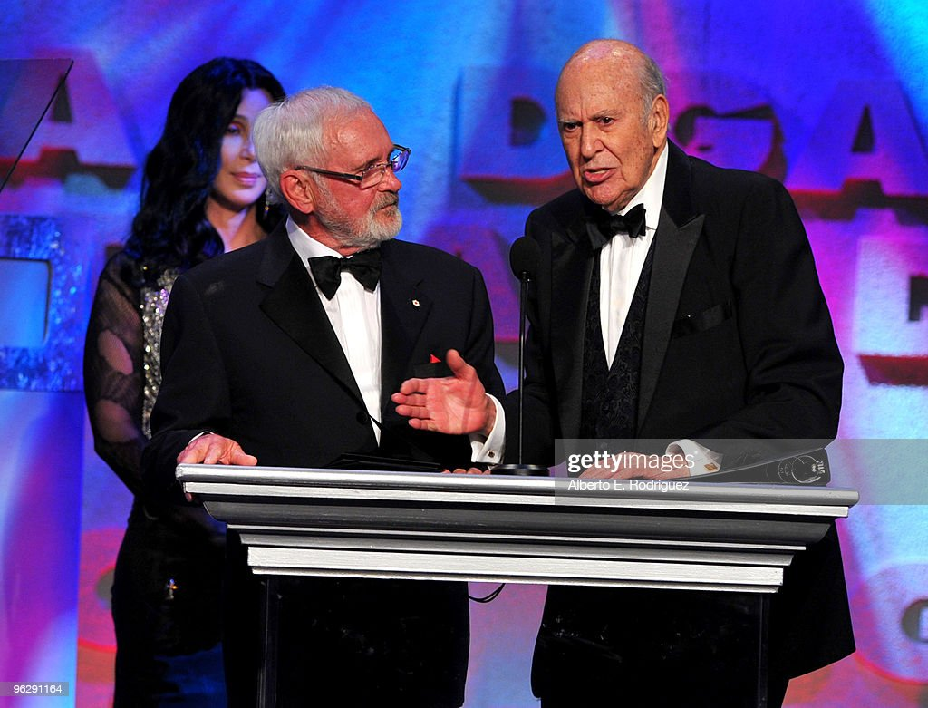Host Carl Reiner (R) presents Director Norman Jewison the Lifetime Achievement Award onstage during the 62nd Annual Directors Guild Of America Awards at the Hyatt Regency Century Plaza on January 30, 2010 in Century City, California.