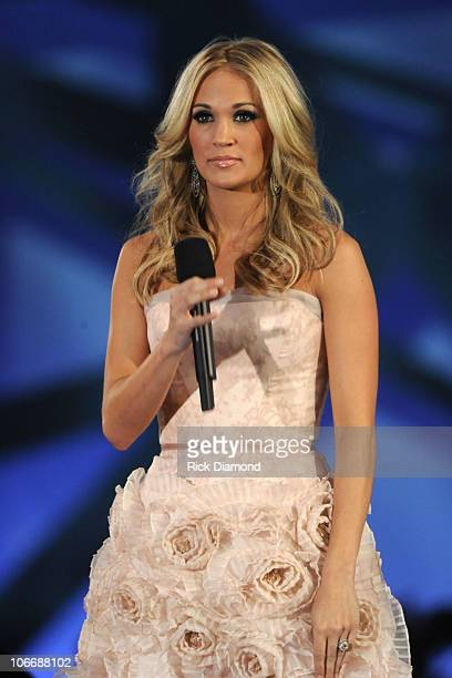 Host Carrie Underwood speaks at the 44th Annual CMA Awards at the Bridgestone Arena on November 10 2010 in Nashville Tennessee