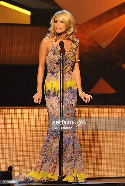 Host Carrie Underwood speaks onstage during the 43rd Annual CMA Awards at the Sommet Center on November 11 2009 in Nashville Tennessee
