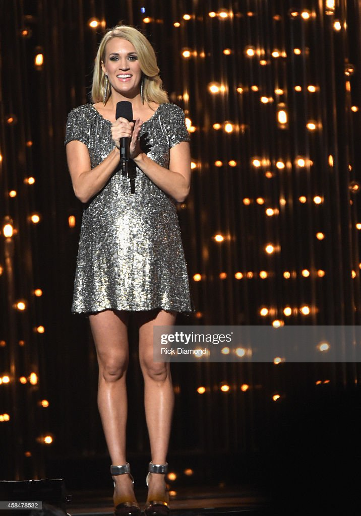 Host <a gi-track='captionPersonalityLinkClicked' href=/galleries/search?phrase=Carrie+Underwood&family=editorial&specificpeople=204483 ng-click='$event.stopPropagation()'>Carrie Underwood</a> speaks onstage during the 48th annual CMA Awards at the Bridgestone Arena on November 5, 2014 in Nashville, Tennessee.