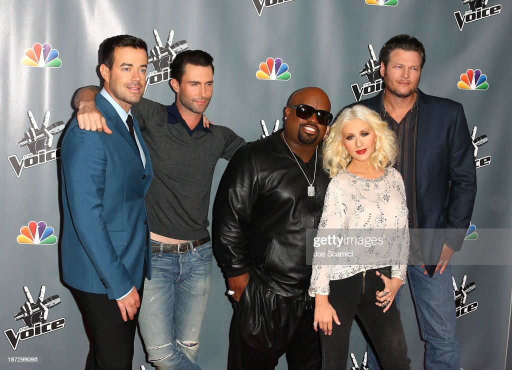 Host Carson Daly; judge <a gi-track='captionPersonalityLinkClicked' href=/galleries/search?phrase=Adam+Levine+-+Singer&family=editorial&specificpeople=202962 ng-click='$event.stopPropagation()'>Adam Levine</a>; judge CeeLo Green; judge <a gi-track='captionPersonalityLinkClicked' href=/galleries/search?phrase=Christina+Aguilera&family=editorial&specificpeople=171272 ng-click='$event.stopPropagation()'>Christina Aguilera</a>; judge Blake Shelton arrive to the 'The Voice' Season 5 Top 12 Event at Universal Studios Hollywood on November 7, 2013 in Universal City, California.