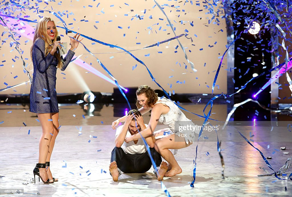 Host Cat Deeley announces winning contestant Ricky Ubeda with runnerup Valerie Rockey on SO YOU THINK YOU CAN DANCE airing Wednesday September 3 2014...
