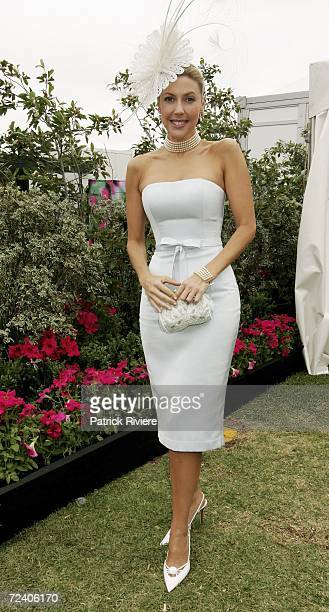 TV host Catriona Rowntree attends the AAMI Victoria Derby Day part of the four day Melbourne Cup Carnival at Flemington Race Course on November 4...