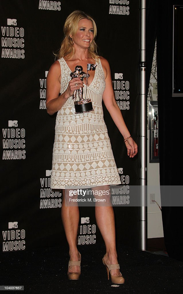 Host Chelsea Handler poses in the press room during the MTV Video Music Awards at NOKIA Theatre L.A. LIVE on September 12, 2010 in Los Angeles, California.