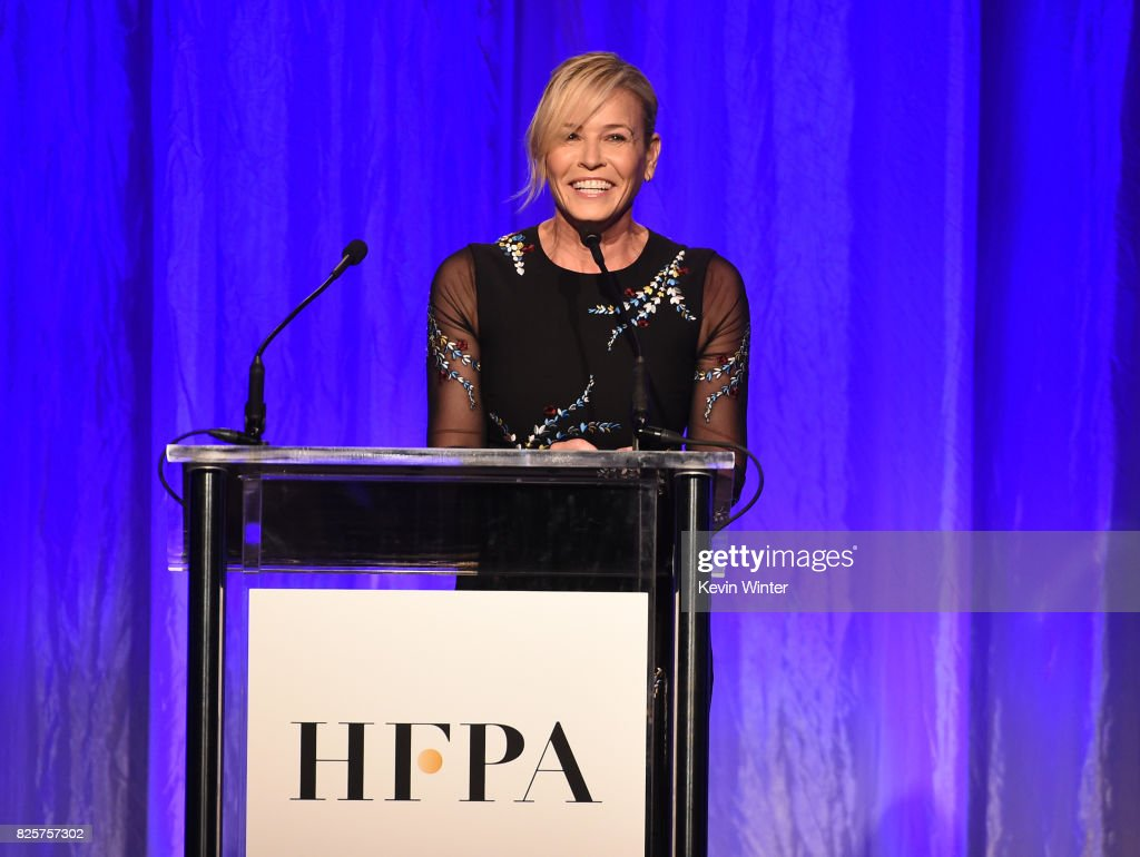 Host Chelsea Handler speaks onstage at the Hollywood Foreign Press Association's Grants Banquet at the Beverly Wilshire Four Seasons Hotel on August 2, 2017 in Beverly Hills, California.