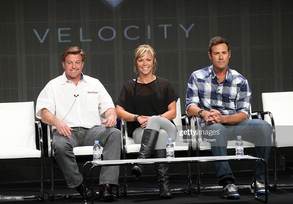 Host Chip Foose and co-hosts Jessi Combs and Chris Jacobs speak at the 'Overhaulin' discussion panel during the Discovery Networks/Velocity portion of the 2012 Summer Television Critics Association tour at the Beverly Hilton Hotel on August 2, 2012 in Los Angeles, California.