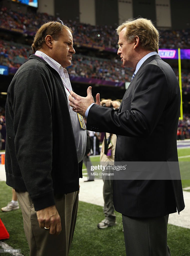 ESPN host Chris Berman speaks with NFL Commissioner Roger Goodell during warm ups prior to Super Bowl XLVII between the Baltimore Ravens and the San Francisco 49ers at the Mercedes-Benz Superdome on February 3, 2013 in New Orleans, Louisiana.