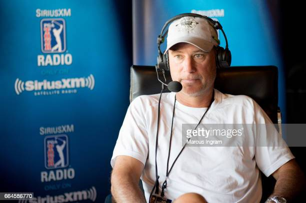Host Chris DiMarco on air during SiriusXM broadcast from The Masters on April 4 2017 in Augusta Georgia