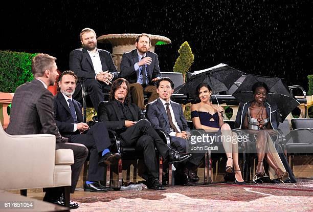 Host Chris Hardwick actors Andrew Lincoln Norman Reedus Steven Yeun Lauren Cohan Danai Gurira and creator Robert Kirkman and showrunner Scott Gimple...