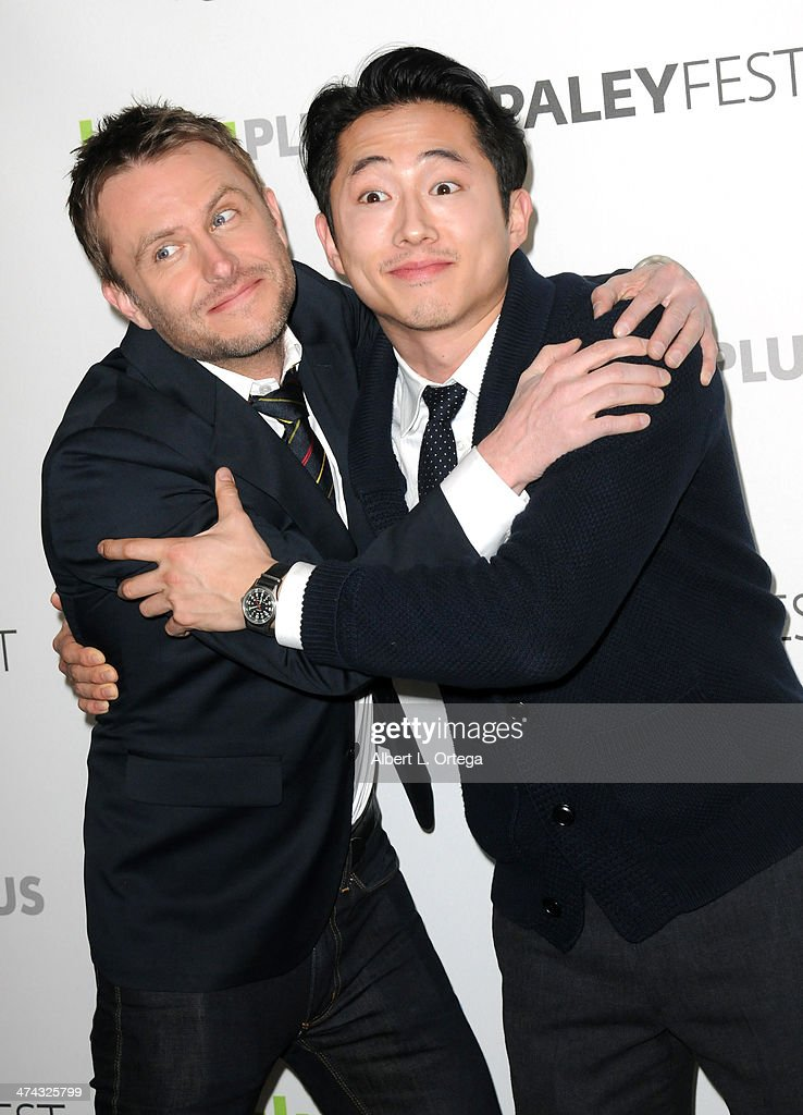 Host <a gi-track='captionPersonalityLinkClicked' href=/galleries/search?phrase=Chris+Hardwick&family=editorial&specificpeople=960855 ng-click='$event.stopPropagation()'>Chris Hardwick</a> and actor <a gi-track='captionPersonalityLinkClicked' href=/galleries/search?phrase=Steven+Yeun&family=editorial&specificpeople=7249223 ng-click='$event.stopPropagation()'>Steven Yeun</a> participate in The Paley Center For Media's PaleyFest 2013 Honoring 'The Walking Dead' held at The Saban Theater on March 1, 2013 in Beverly Hills, California.