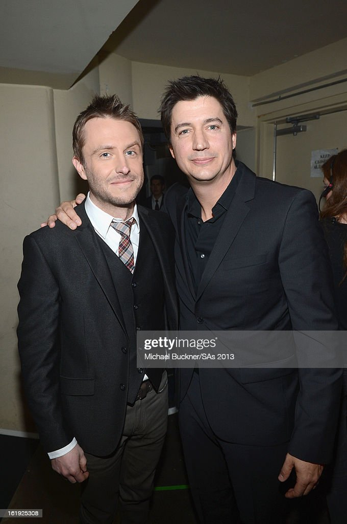Host Chris Hardwick (L) and actor/comedian Ken Marino attend the 3rd Annual Streamy Awards at Hollywood Palladium on February 17, 2013 in Hollywood, California.