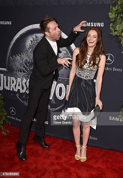 TV host Chris Hardwick and Lydia Hearst attend the Universal Pictures' 'Jurassic World' premiere at the Dolby Theatre on June 9 2015 in Hollywood...