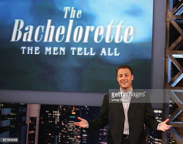 Host Chris Harrison attends the taping of The Bachelorette The Men Tell All Special on February 12 2005 in Los Angeles California