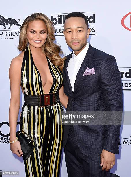 Host Chrissy Teigen and musician John Legend attend the 2015 Billboard Music Awards at MGM Grand Garden Arena on May 17 2015 in Las Vegas Nevada