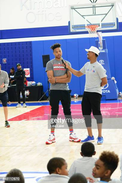 Host Christian Crosby interviews Sixers NBA Star player Markelle Fultz during the Julius Erving Youth Basketball Clinic on September 9 2017 at the...