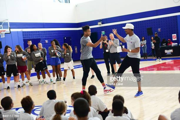 Host Christian Crosby welcomes Sixers NBA Star player Markelle Fultz during the Julius Erving Youth Basketball Clinic on September 9 2017 at the...