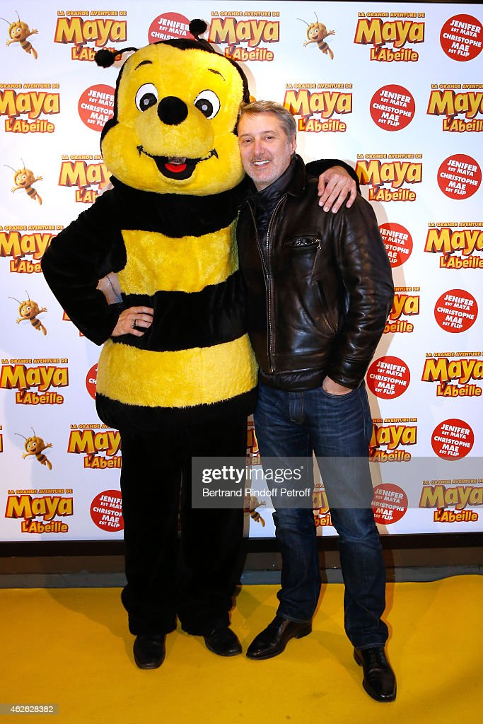 TV Host Christophe Beaugrand and actor Antoine de Caunes attend the 'Maya The Bee - La Grande Aventure De Maya L'Abeille' Paris Premiere at UGC Cine Cite Bercy on February 1, 2015 in Paris, France.