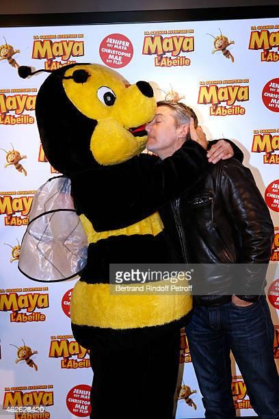 TV Host Christophe Beaugrand and actor Antoine de Caunes attend the 'Maya The Bee La Grande Aventure De Maya L'Abeille' Paris Premiere at UGC Cine...