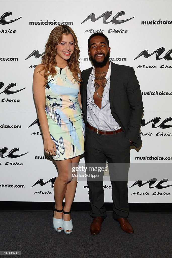 Host Clare Galterio (L) and Omarion visit 'You & A' at Music Choice on May 1, 2014 in New York City.