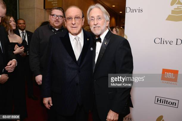 Host Clive Davis and President/CEO of The Recording Academy and GRAMMY Foundation President/CEO Neil Portnow attend PreGRAMMY Gala and Salute to...