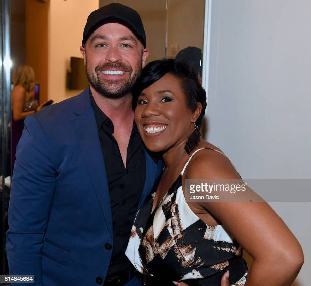 Host Cody Alan and American Idol's Melinda Doolittle arrive at Top 100 Dealer Awards during Summer NAMM at Music City Center on July 14 2017 in...