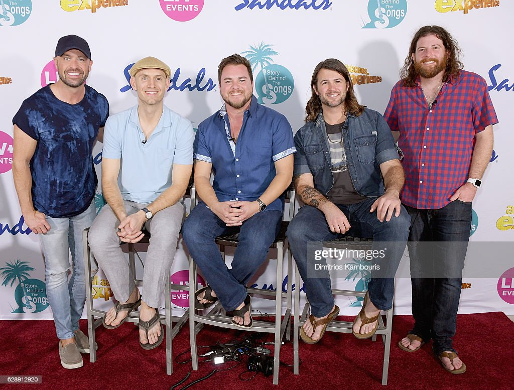 Host Cody Alan and recording artists Jon Jones, Mike Eli, Chris Thompson, and James Young of Eli Young Band attend CMT Story Behind The Songs LIV + Weekend at Sandals Royal Bahamian Spa Resort & Offshore Island - Day 2 at Sandals Royal Bahamian on December 9, 2016 in Nassau, Bahamas.