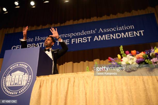 Host comedian Hasan Minhaj speaks on stage during 2017 White House Correspondents' Association Dinner at Washington Hilton on April 29 2017 in...
