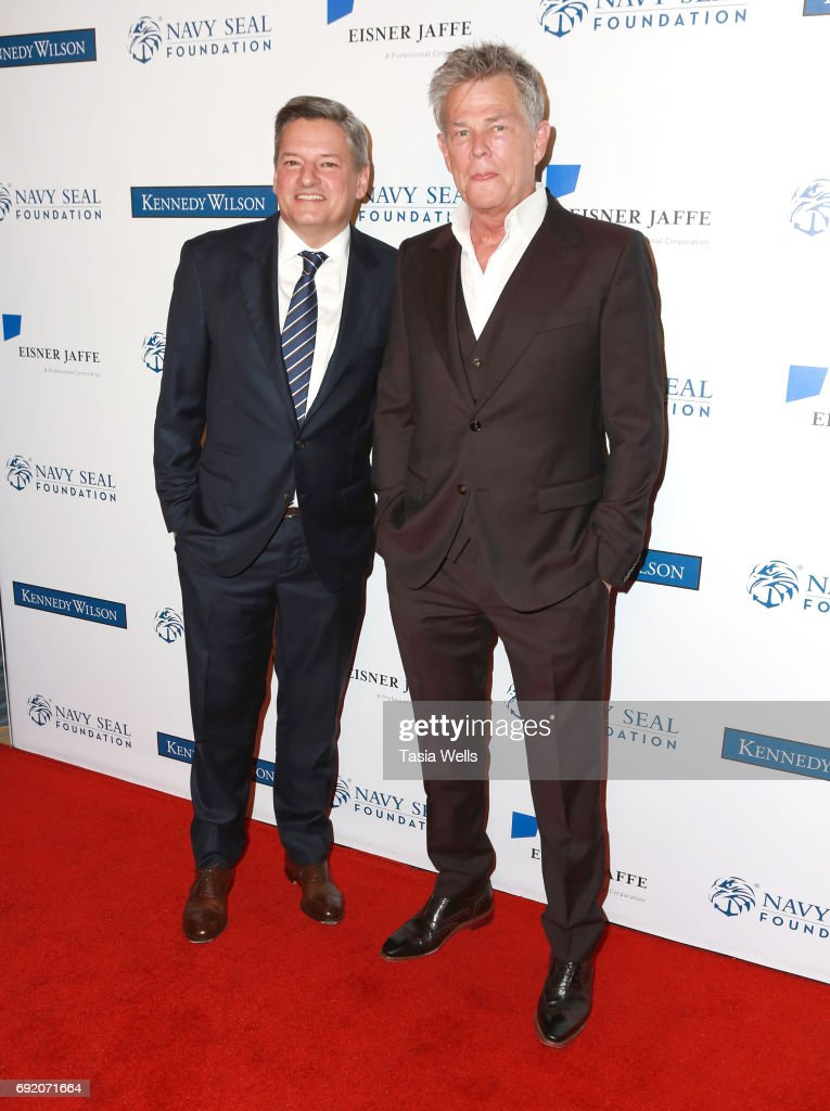 Host Committee Ted Sarandos (L) and musician David Foster attend the 2017 Los Angeles Evening of Tribute Benefiting the Navy SEAL Foundation on June 1, 2017 in Beverly Hills, California.