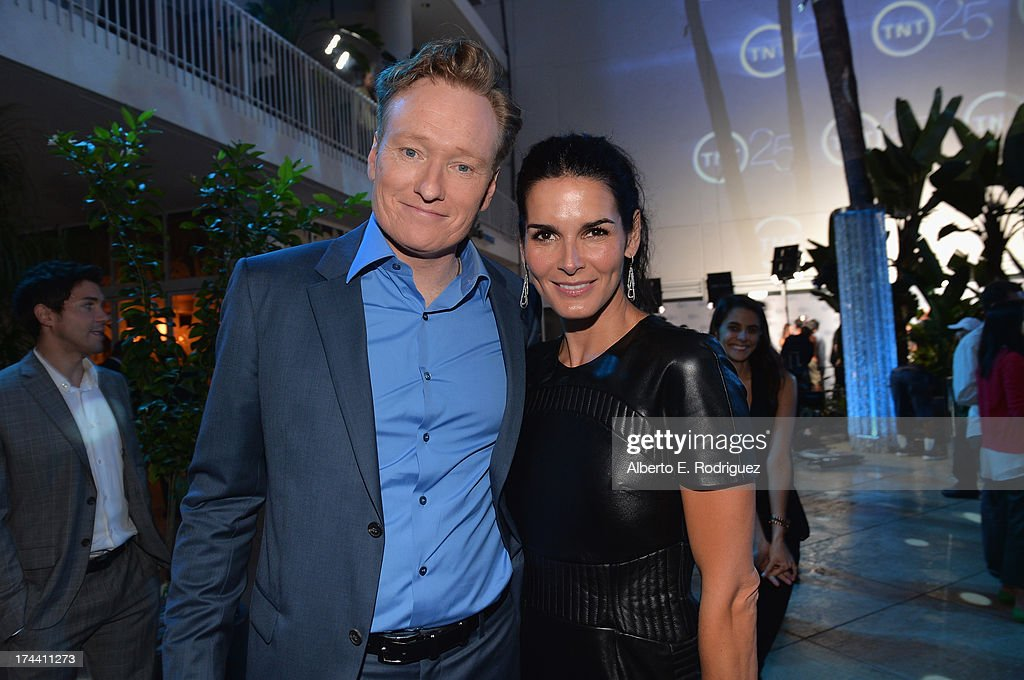 TV host <a gi-track='captionPersonalityLinkClicked' href=/galleries/search?phrase=Conan+O%27Brien&family=editorial&specificpeople=208095 ng-click='$event.stopPropagation()'>Conan O'Brien</a> and actress <a gi-track='captionPersonalityLinkClicked' href=/galleries/search?phrase=Angie+Harmon&family=editorial&specificpeople=204576 ng-click='$event.stopPropagation()'>Angie Harmon</a> attend TNT's 25th Anniversary Party at The Beverly Hilton Hotel on July 24, 2013 in Beverly Hills, California.