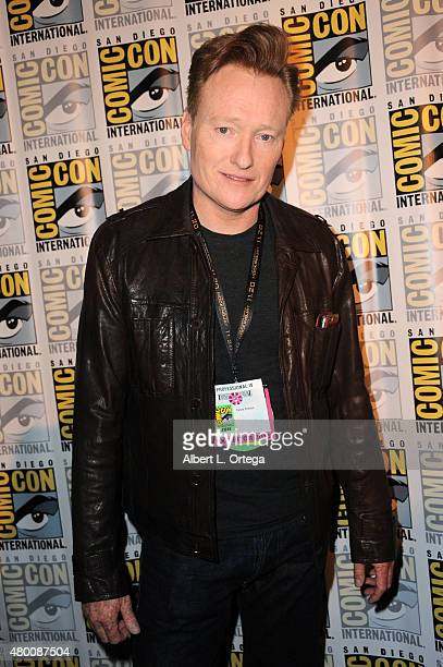 TV host Conan O'Brien attends the 'The Hunger Games Mockingjay Part 2' panel during ComicCon International 2015 at the San Diego Convention Center on...