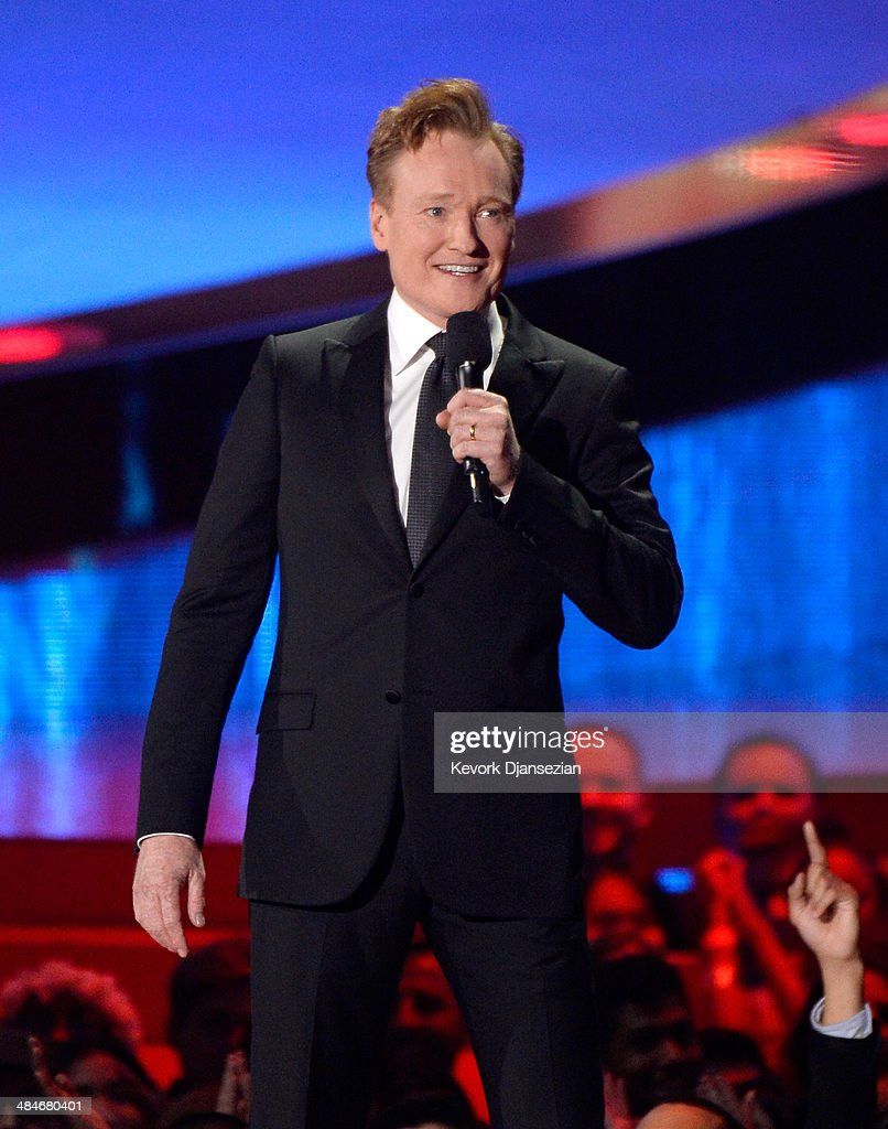 Host Conan O'Brien speaks onstage at the 2014 MTV Movie Awards at Nokia Theatre LA Live on April 13 2014 in Los Angeles California